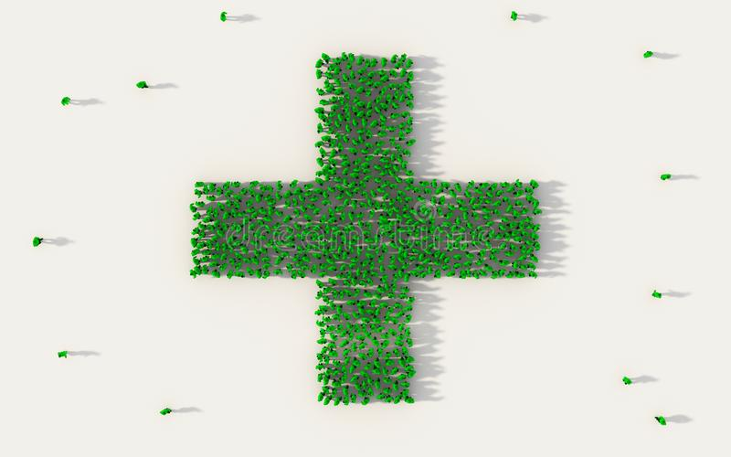 Large group of people forming green hospital icon in social media and community concept on white background. 3d sign of crowd. Illustration from above gathered royalty free illustration