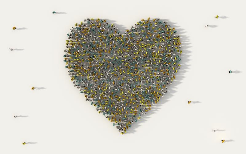 Large group of people forming heart symbol in social media and community concept on white background. 3d sign of crowd. Illustration from above gathered stock illustration