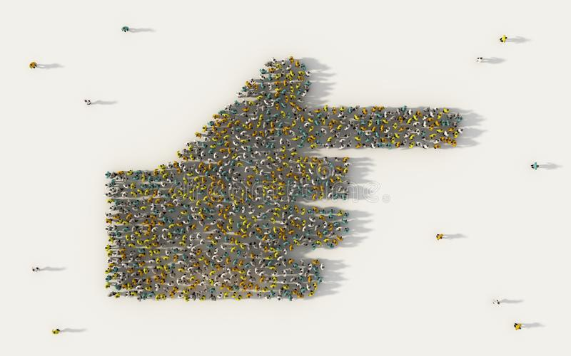 Large group of people forming human hand pointing with index finger icon in social media and community concept on white background stock illustration