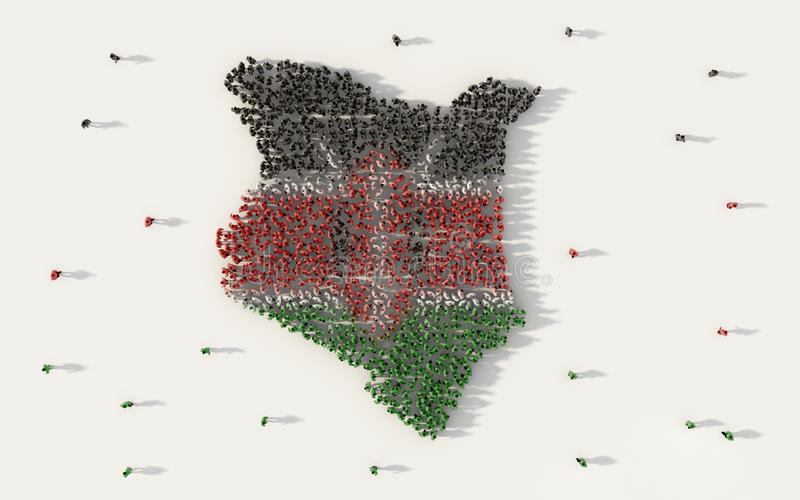 Large group of people forming Kenya map and national flag in social media and community concept on white background. 3d sign. Symbol of crowd illustration from vector illustration