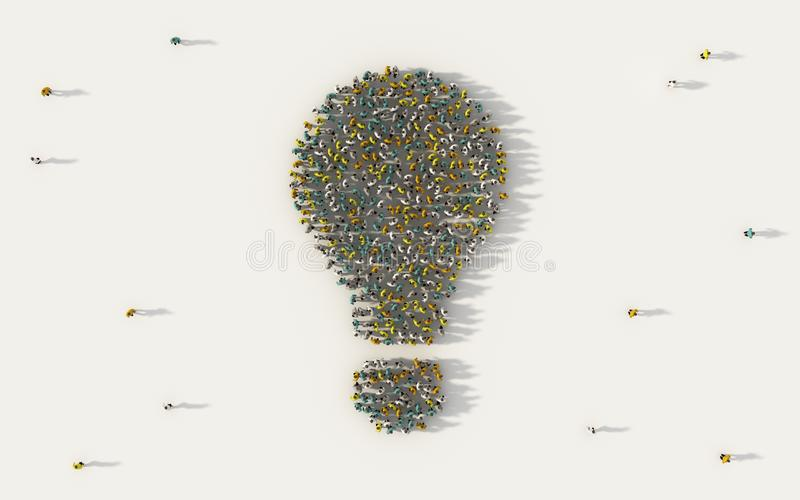 Large group of people forming a light bulb symbol in social media and community concept on white background. 3d sign of crowd vector illustration