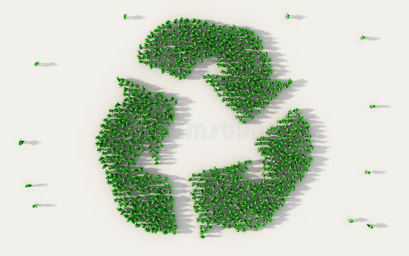 Large group of people forming recycle or conservation green symbol in social media and community concept on white background. 3d stock illustration