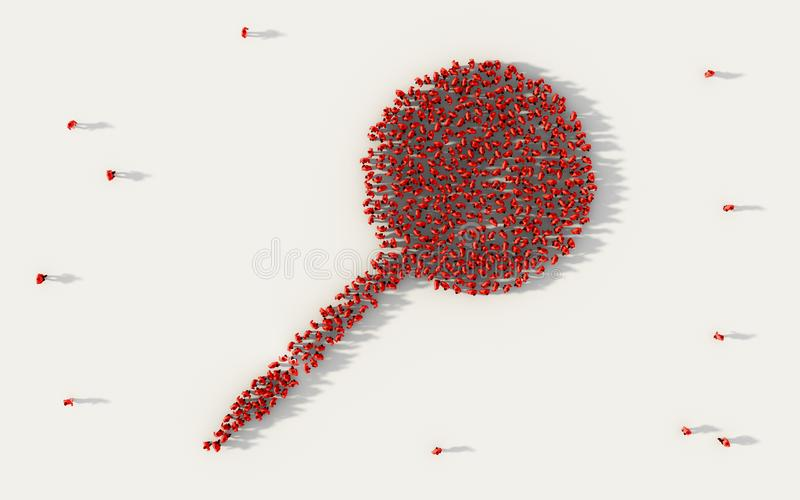 Large group of people forming a red pushpin or thumbtack symbol in social media and community concept on white background. 3d sign royalty free illustration
