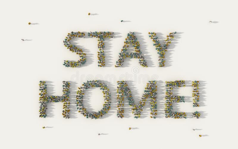 Large group of people forming Stay Home lettering text in social media and community concept on white background. 3d sign of crowd royalty free stock images