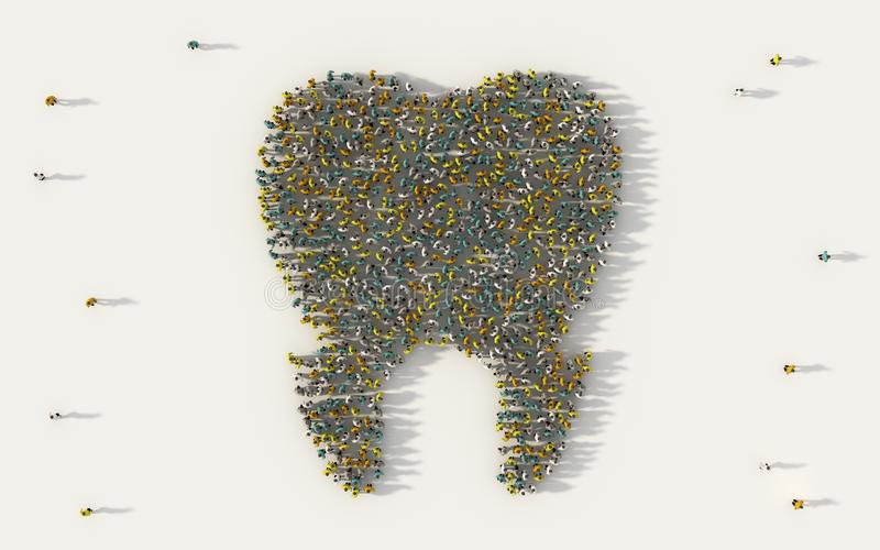 Large group of people forming a teeth icon in social media and community concept on white background. 3d sign of crowd. Illustration from above gathered vector illustration