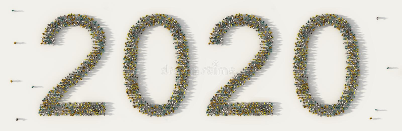 Large group of people forming 2020 text number for happy new year day on holiday in social media and community concept on white royalty free illustration