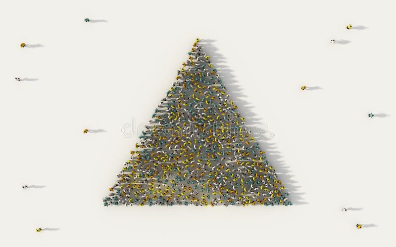 Large group of people forming a triangle geometry icon in social media and community concept on white background. 3d sign of crowd stock illustration