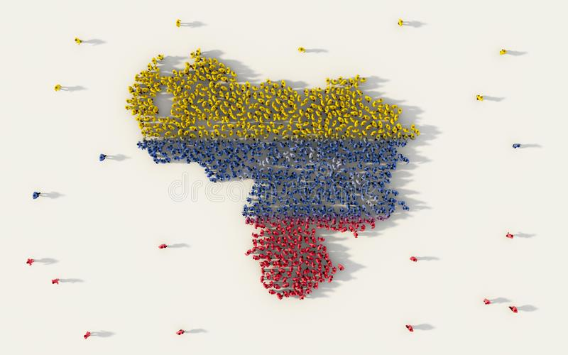 Large group of people forming Venezuela map and national flag in social media and community concept on white background. 3d sign vector illustration