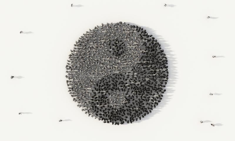 Large group of people forming yin yang Chinese symbol in social media and community concept on white background. 3d sign of crowd. Illustration from above royalty free illustration