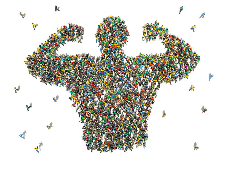 Large group of people seen from above gathered together. In shape of bodybuilder vector illustration