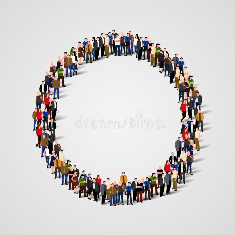 Large group of people in the shape of circle. stock illustration