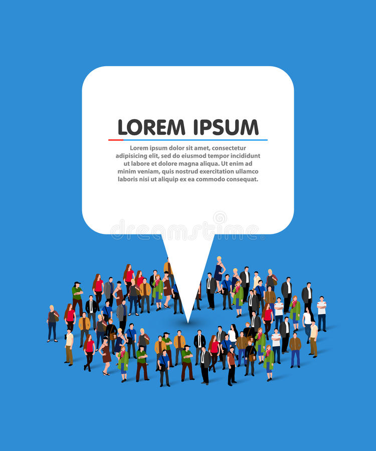 Large group of people in the shape of circle with white information pointer. stock illustration