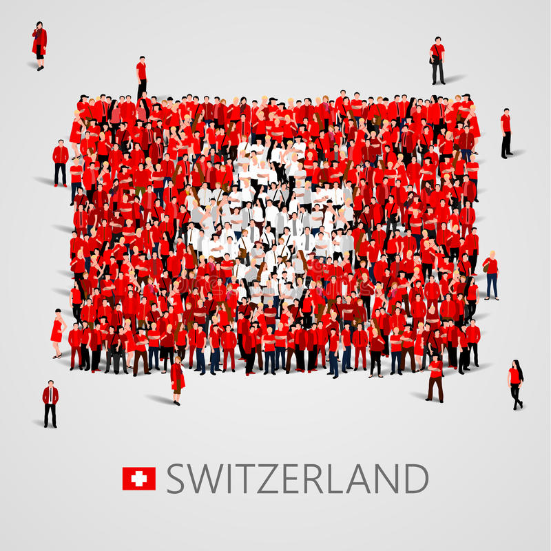 Large group of people in the shape of Swiss flag. Swiss Confederation. Switzerland concept. royalty free illustration