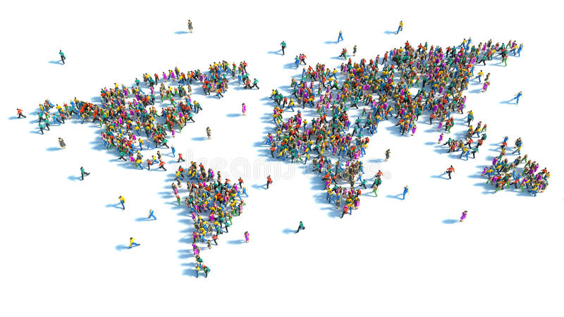 Large group of people standing in the form of a world map stock illustration