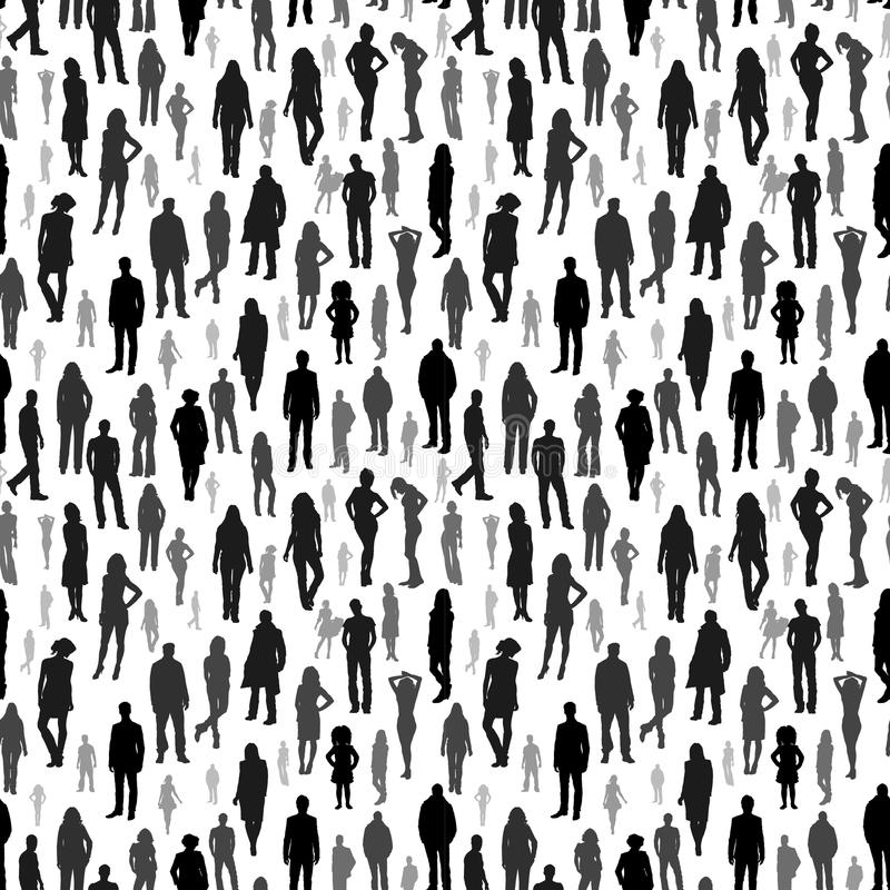 Large group of people. vector seamless pattern stock illustration
