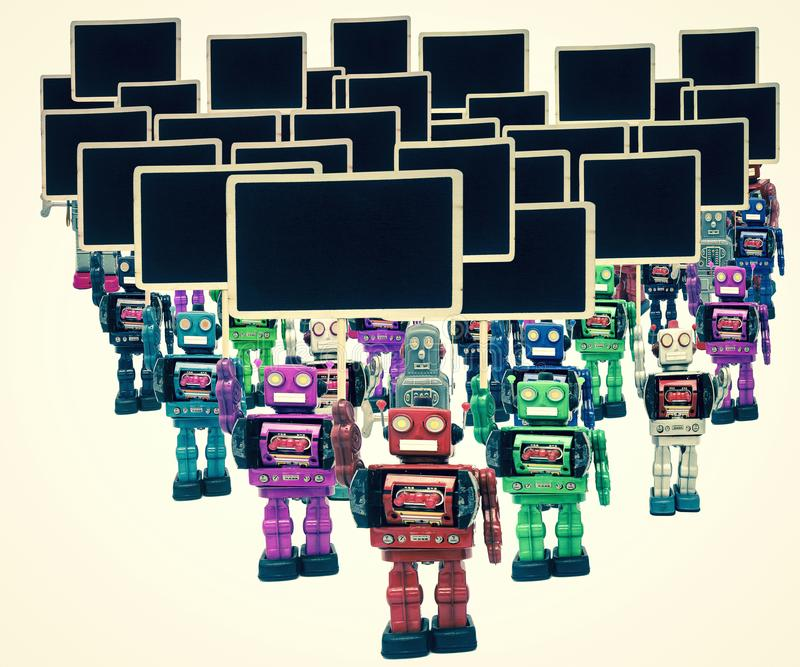 A large group of robot protesters. Isolated stock photography