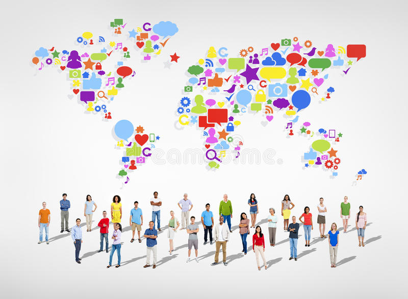 Large Group of Social Networking People royalty free illustration
