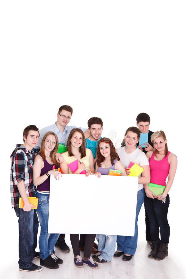 Large group of students with blank sign stock image