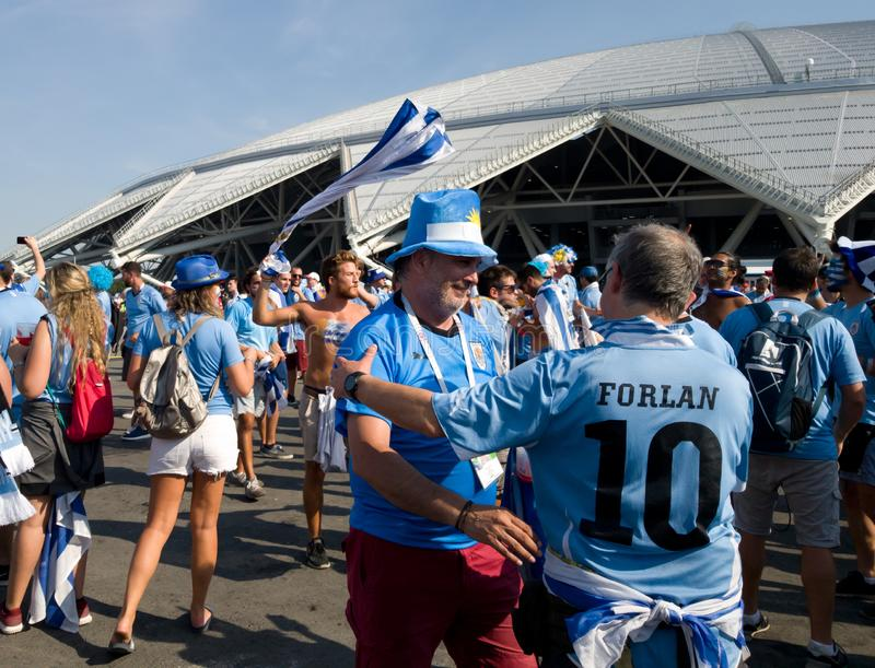 A large group of Uruguayan fans near the stadium in Samara communicate and have fun. World Cup 2018 in Russia royalty free stock photography