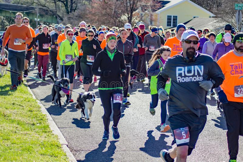 A large Group of Walkers  and Runner. Roanoke, VA – March 23rd: A large of group of runners walkers at the annual Roanoke Valley SPCA 5K Tail Chaser stock photography
