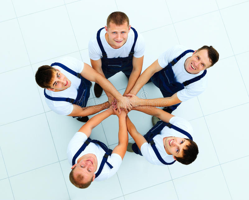 Large group of workers standing royalty free stock photos