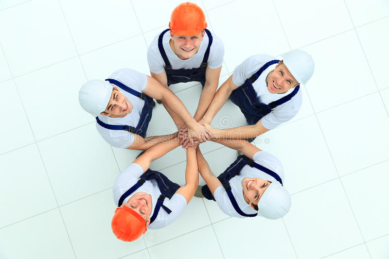 Large group of workers standing stock photography