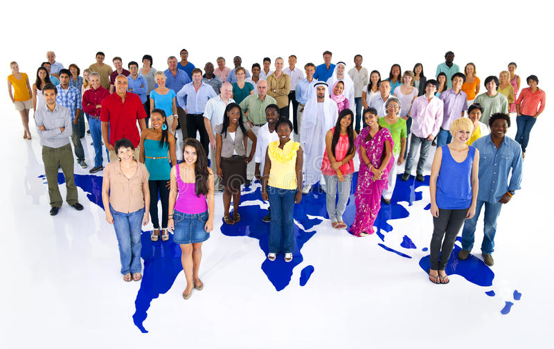 Large Group of World People with World Map stock photos