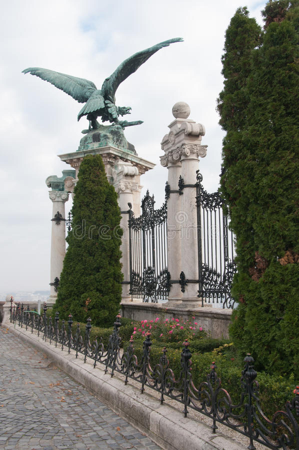 download large gryphon statue is a decoration to gate at museum in budapest hunga stock