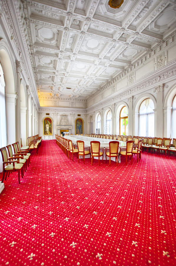 Large hall in Livadia palace Yalta Crimea. Hisrorical place of conference WW2 stock photo