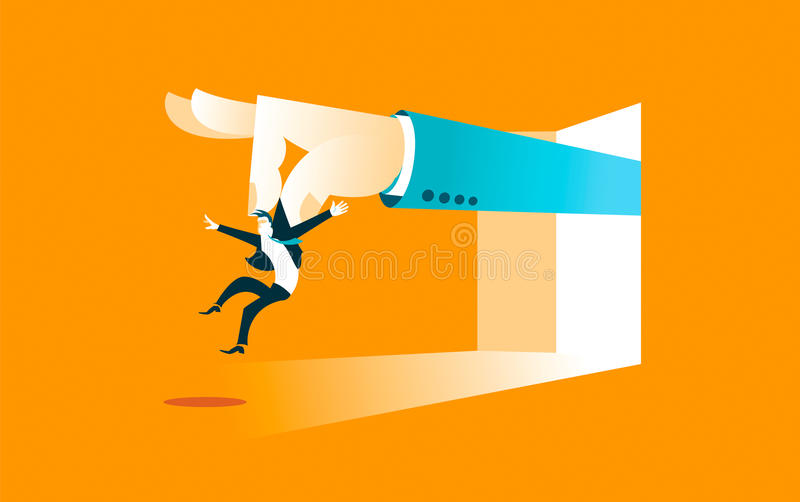 Large hand throws worker stock illustration
