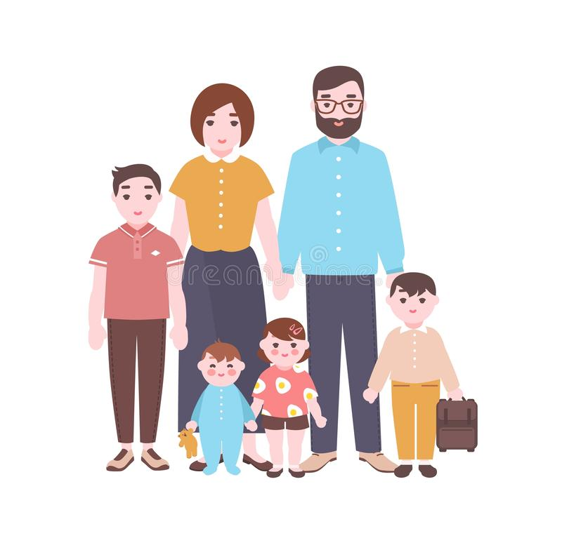 Large happy family portrait. Smiling mother, father, and children standing together. Adorable funny cartoon characters stock illustration