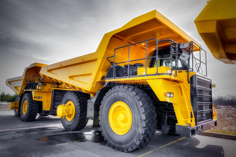 Large haul truck. Ready for big job in a mine. Low salturation and added vigneting royalty free stock image