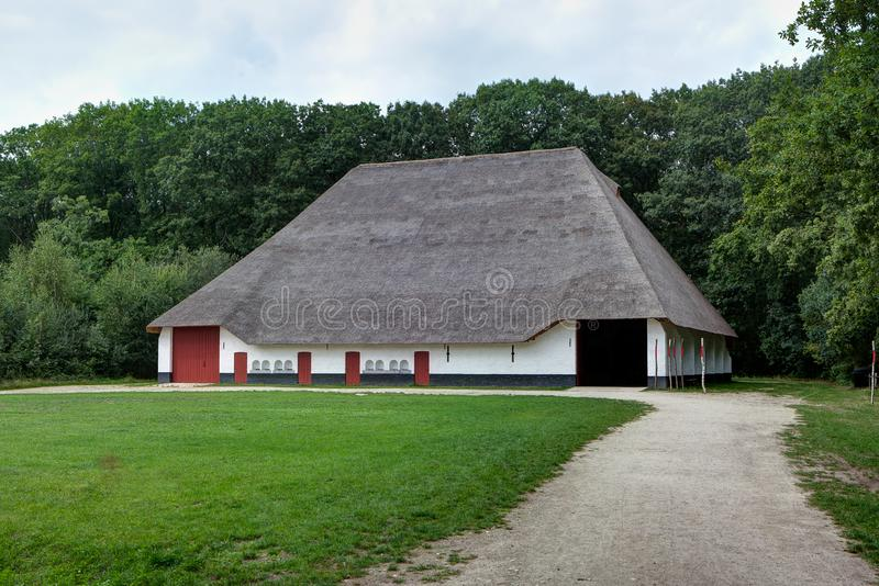 Hay barn thatched reed roof, sheep, Bokrijk, Limbourg, Belgium stock image