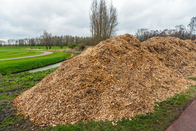 Large heaps of wood chips after pruning of trees and shrubs. At the end of the winter season stock photos