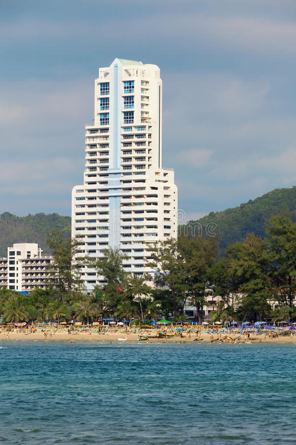 Large high-rise hotel. Thailand, Phuket, Patong. royalty free stock images