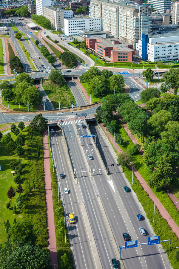 Download Large Highway With Roundabout In The Dutch City Of Rotterdam Stock Image - Image: 32380271