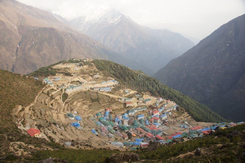 Large Himalayan mountain town stock photo
