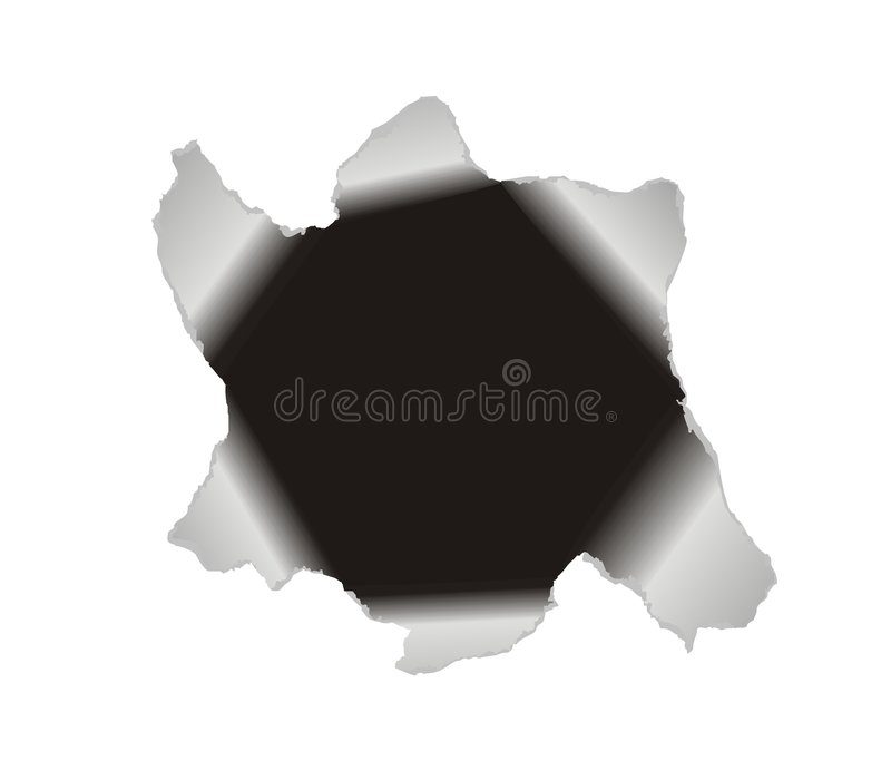 Large hole in the white paper. Vector background. Black hole torn in paper to frame a picture or text stock illustration