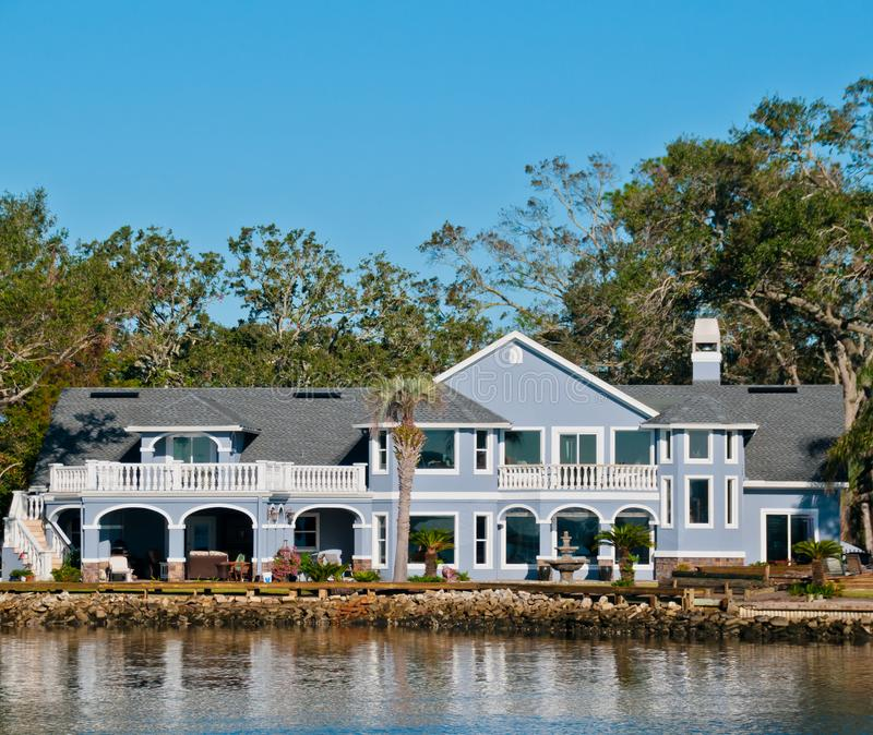 Large Home Along Water in Florida stock photography