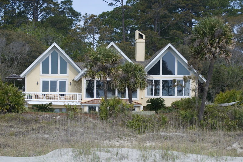 Large home on beach royalty free stock images
