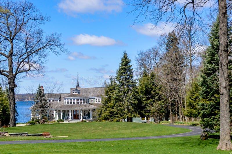 Large Home on Lake Geneva, Wisconsin stock photo
