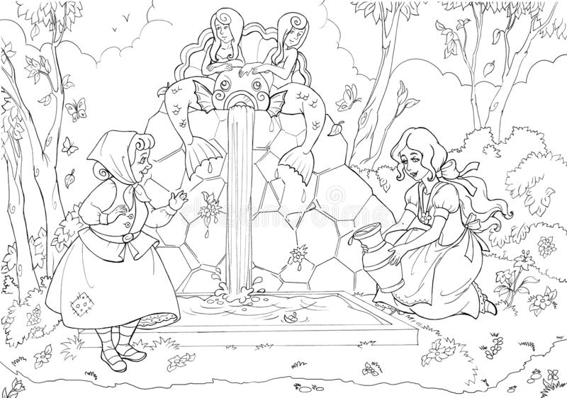 Large horizontal coloring page with old lady and fairytale beautiful heroine near forest waterfall stock illustration