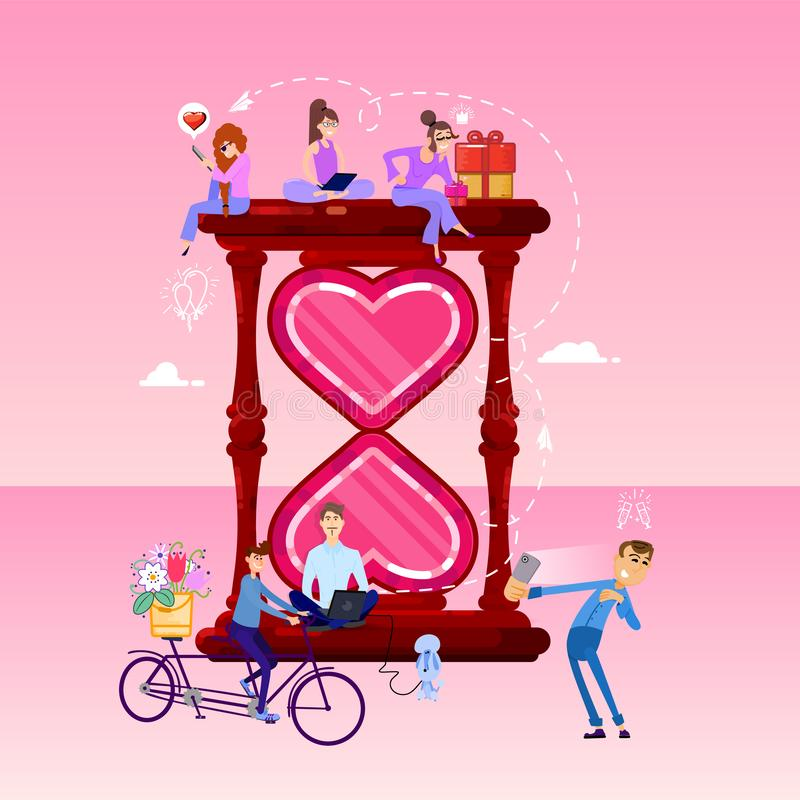 A large hour glass shaped like a heart and tiny people around. pink romantic template. flat design style vector graphic stock illustration
