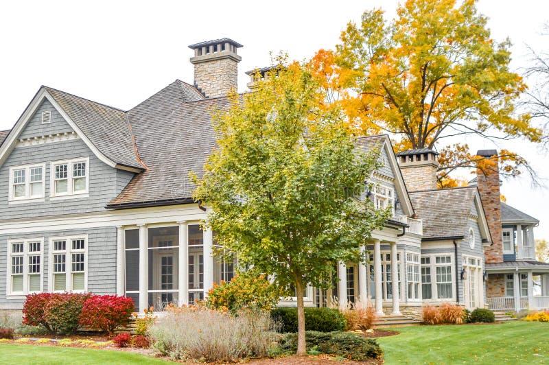 Large House in Fall, Lake Geneva, WI stock photo