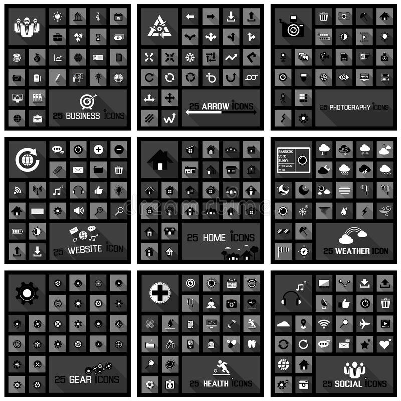 Large icons set concepts vector illustration