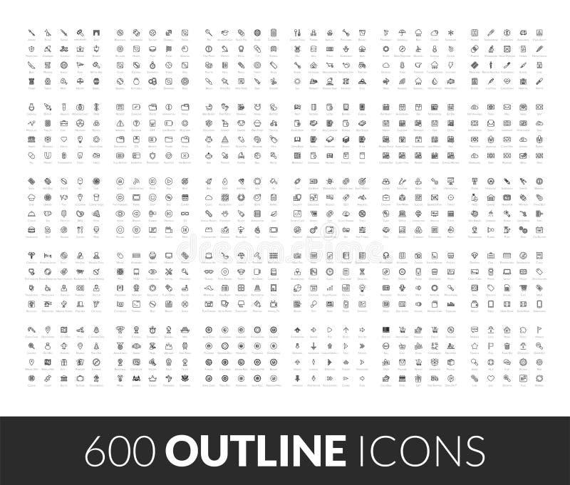 Large icons set, 600 outline black vector pictogram stock illustration