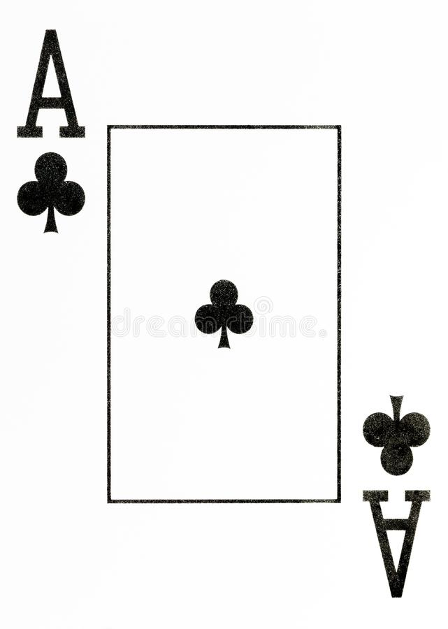 Large index playing card ace of clubs. American deck royalty free illustration