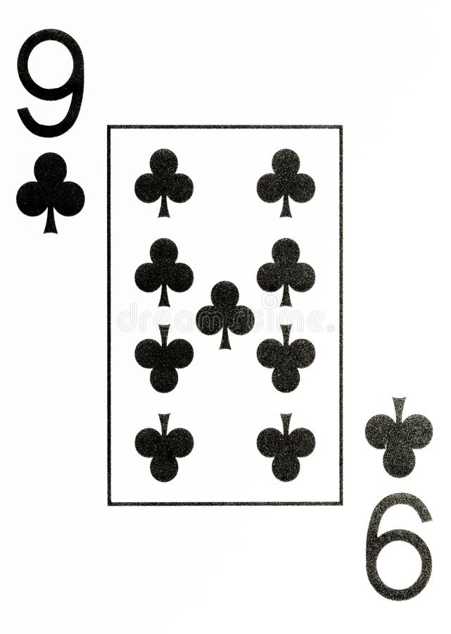 Large index playing card 9 of clubs vector illustration