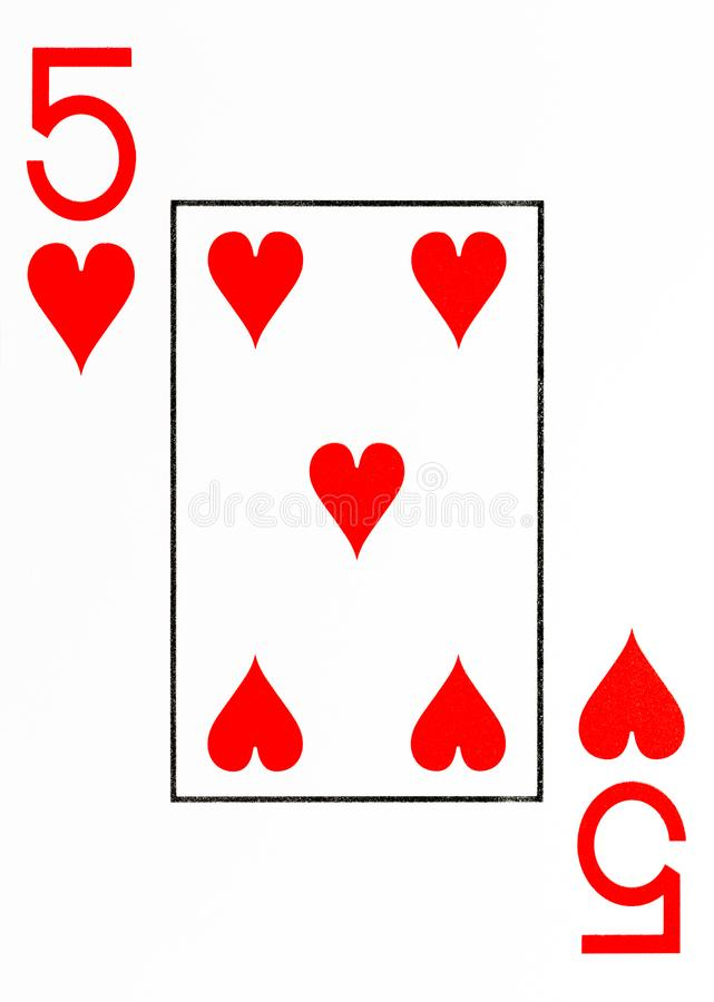 Large index playing card 5 of hearts stock illustration