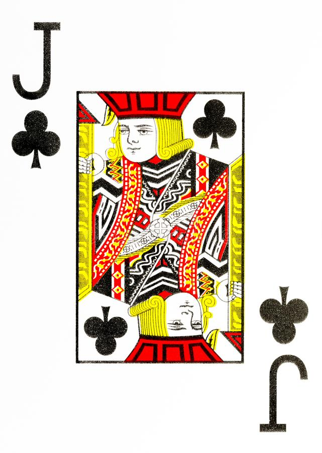 Large index playing card jack of clubs. American deck royalty free illustration